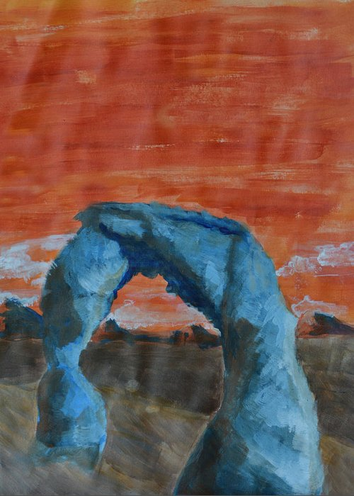 Landscape Greeting Card featuring the painting Blue And Orange by Robin Lee