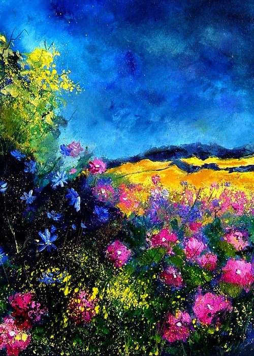 Landscape Greeting Card featuring the painting Blue and pink flowers by Pol Ledent