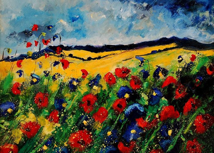 Poppies Greeting Card featuring the painting Blue and red poppies 45 by Pol Ledent