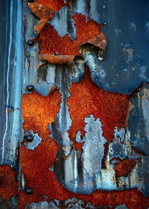 Rusty Pieces Greeting Card featuring the photograph Blue And Rust by Karol Livote