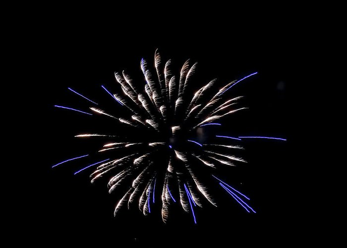 Blue And White Fireworks Greeting Card featuring the photograph Blue And White Fireworks by Cynthia Woods