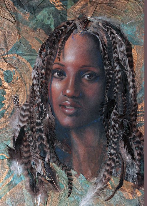 Portrait Greeting Card featuring the mixed media Blue Angel by Gary Williams