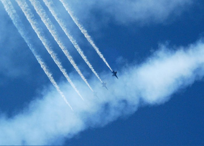 Sky Greeting Card featuring the photograph Blue Angel Symmetry by Vicki Hone Smith
