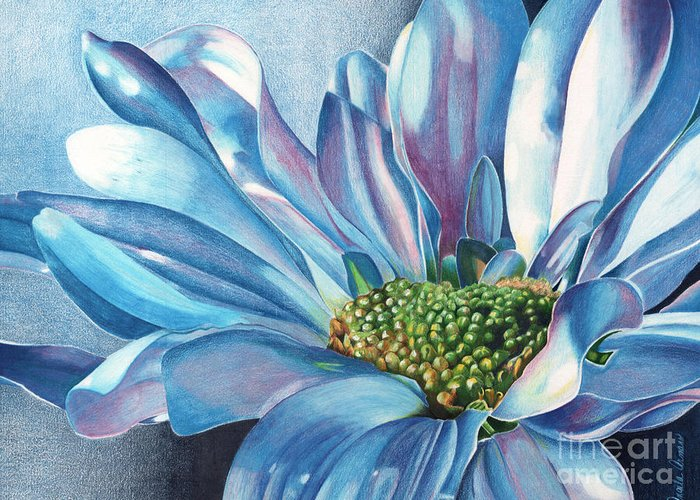 Blue Greeting Card featuring the painting Blue by Angela Armano