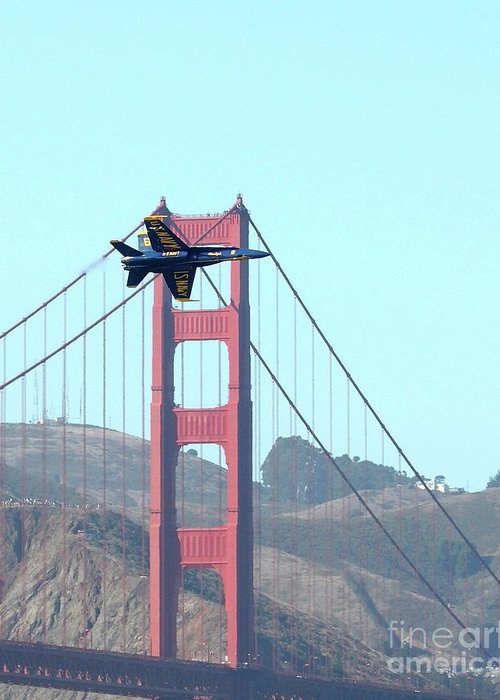 Blue Angels Greeting Card featuring the photograph Blue Angels Crossing The Golden Gate Bridge 3 by Wingsdomain Art and Photography