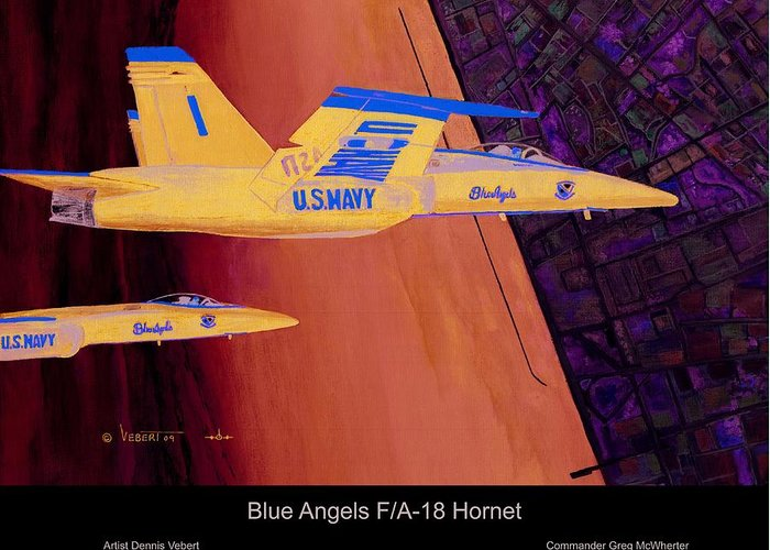 Blue Angels Greeting Card featuring the painting Blue Angels by Dennis Vebert
