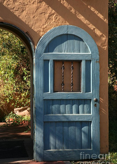 Door Greeting Card featuring the photograph Blue Arch Door by Timothy Johnson