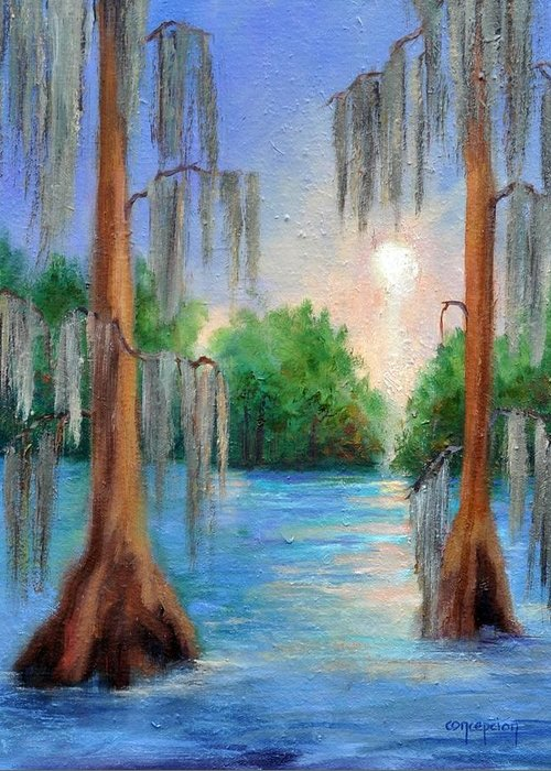 Bayou Landscape Greeting Card featuring the painting Blue Bayou by Ginger Concepcion