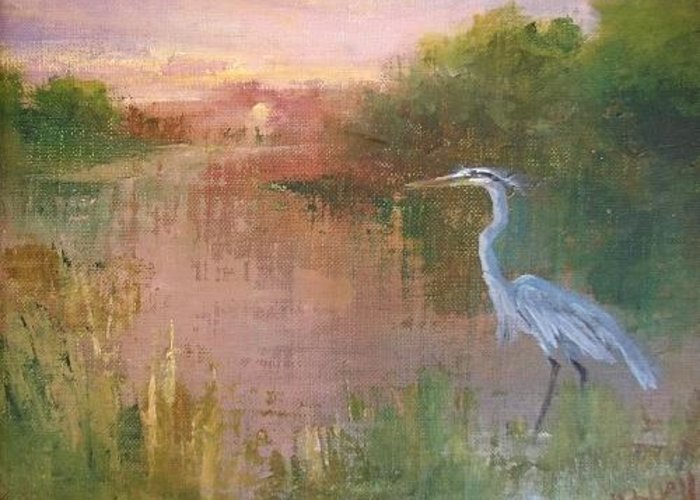 Alabama Greeting Card featuring the painting Blue Bayou by Joanne Hall