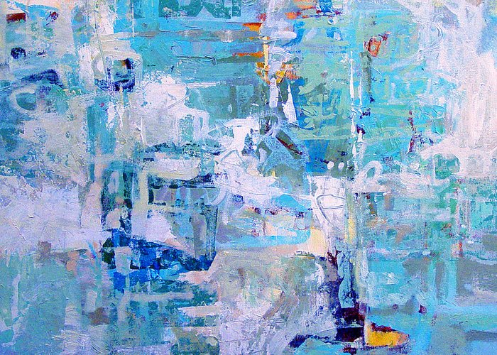Abstract Greeting Card featuring the painting Blue Beacon by Dale Witherow