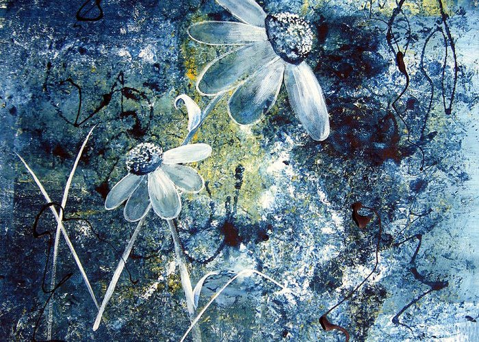 Abstract Greeting Card featuring the painting Blue Beauties by Ruth Palmer