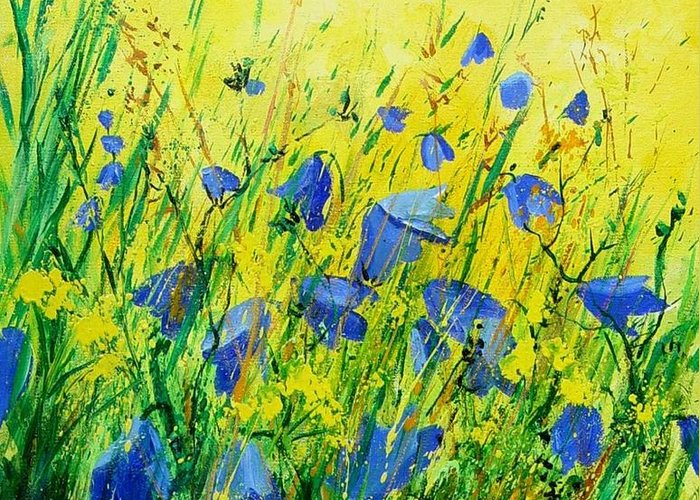 Poppies Greeting Card featuring the painting Blue Bells by Pol Ledent