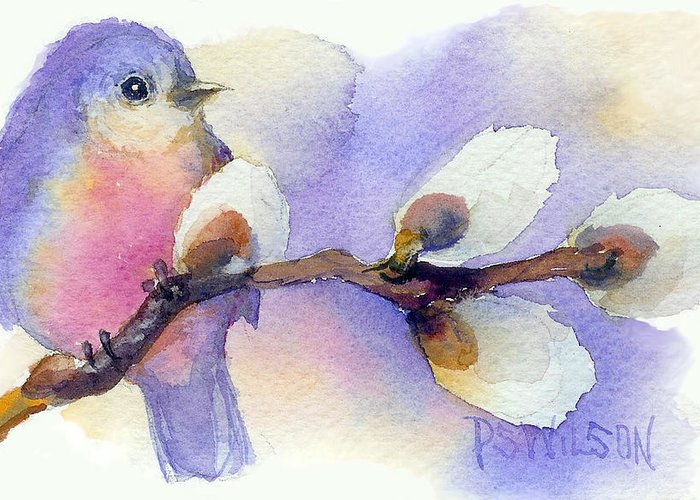 Bluebird Greeting Card featuring the painting Blue Bird And Pussywillow by Peggy Wilson