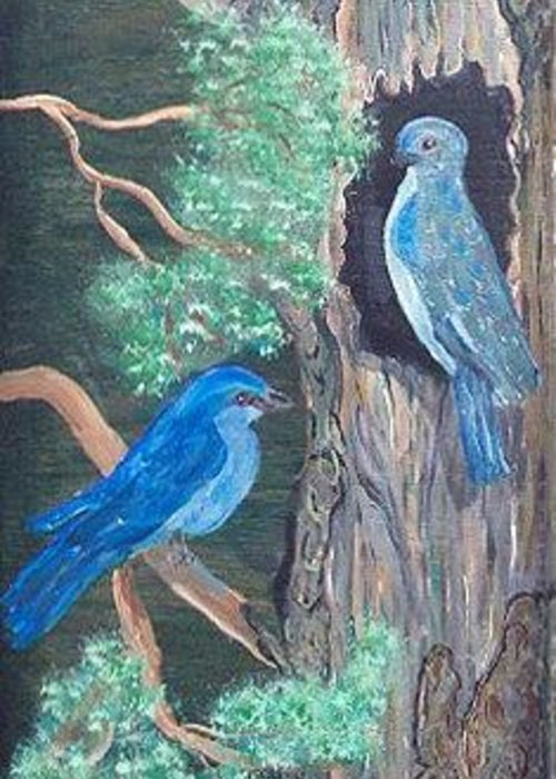 Nature Greeting Card featuring the painting Blue Birds by Mikki Alhart