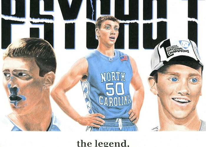 Tyler Hansbrough Greeting Card featuring the drawing Blue Blood by William Pleasant