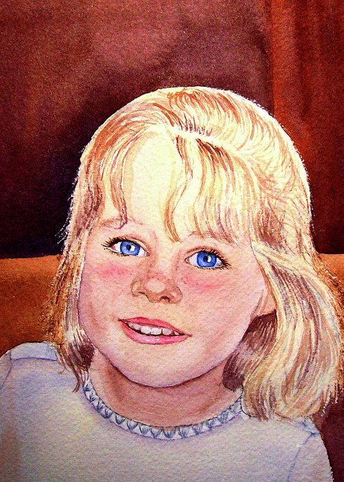 Girl Portrait Greeting Card featuring the painting Blue Blue Eyes by Irina Sztukowski