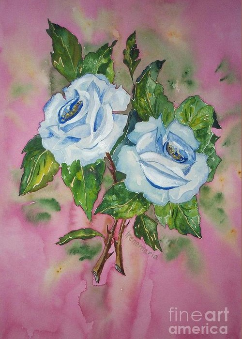 Irenemaria Roses Aquarell Painting Greeting Card featuring the painting Blue Blue Roses by Irenemaria Amoroso