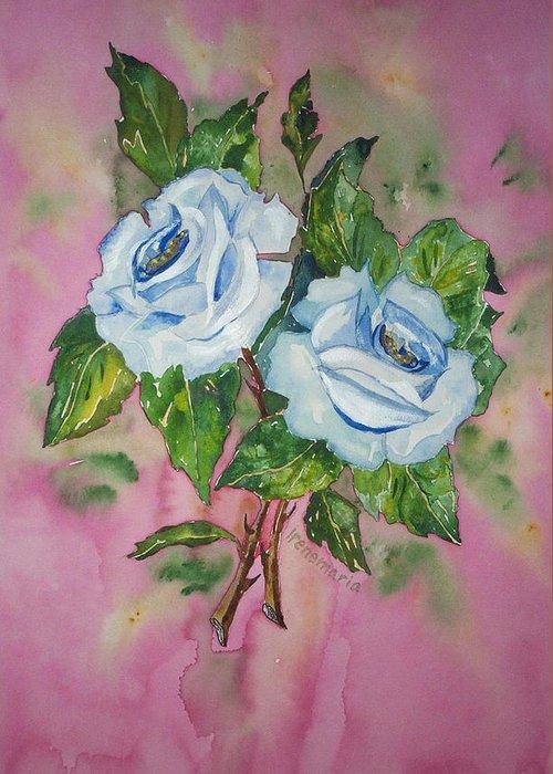 Irenemaria Roses Painting Greeting Card featuring the painting Blue Blue Roses by Irenemaria