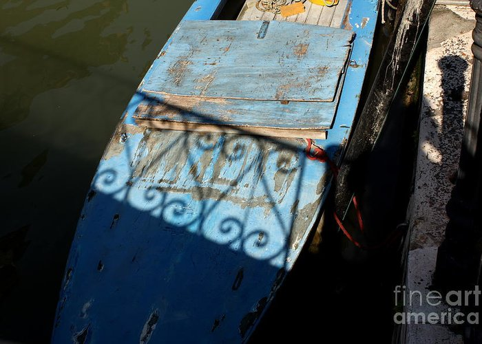 Boat Greeting Card featuring the photograph Blue Boat In Venice With Shadow by Michael Henderson