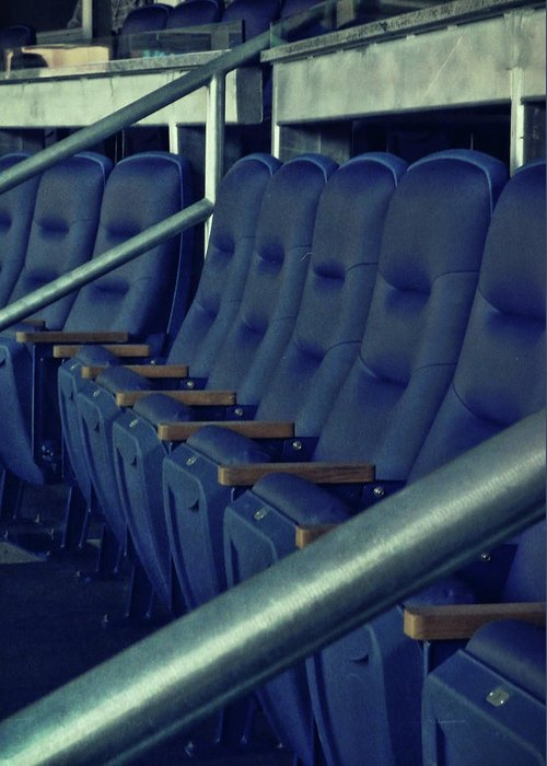 Yankees Greeting Card featuring the photograph Blue Box Seats by JAMART Photography