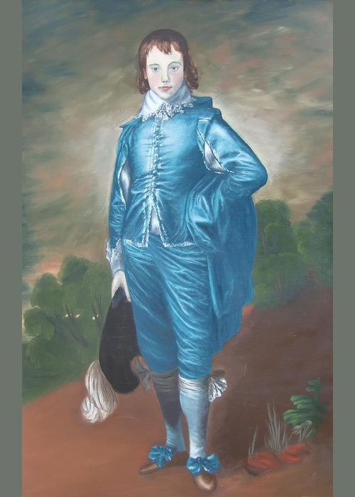 Blue Boy Greeting Card featuring the painting Blue Boy Nr. Seven by Philipp Merillat