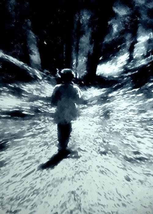 Blue Greeting Card featuring the painting Blue Boy Walking Into The Future by RC DeWinter