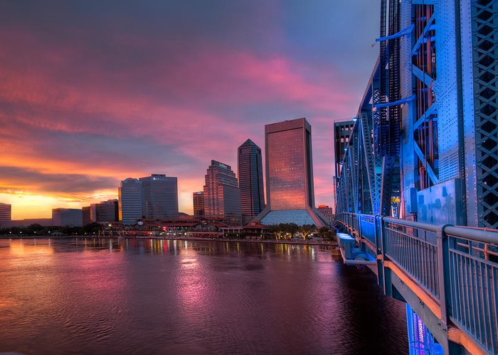 Clouds Greeting Card featuring the photograph Blue Bridge Red Sky Jacksonville Skyline by Debra and Dave Vanderlaan