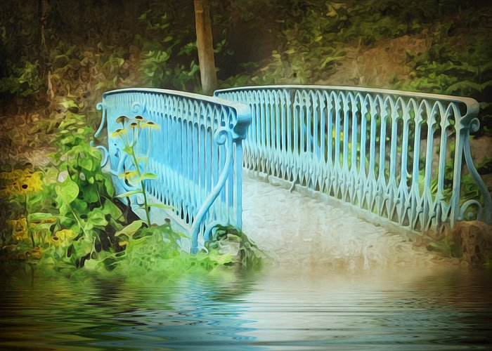 Background Greeting Card featuring the photograph Blue Bridge by Svetlana Sewell