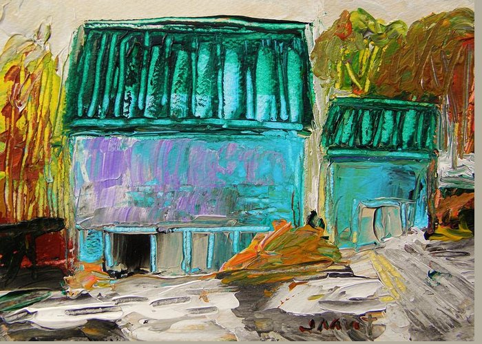 Farm Greeting Card featuring the painting Blue Buildings Together-musing by John Williams