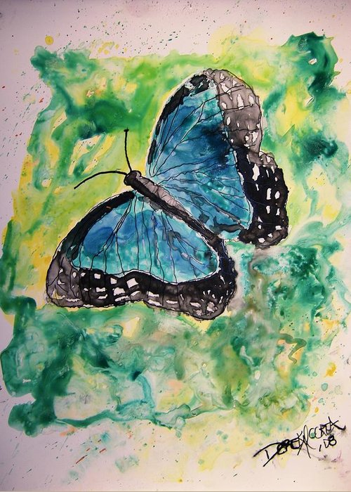 Wildlife Greeting Card featuring the painting Blue Butterfly by Derek Mccrea