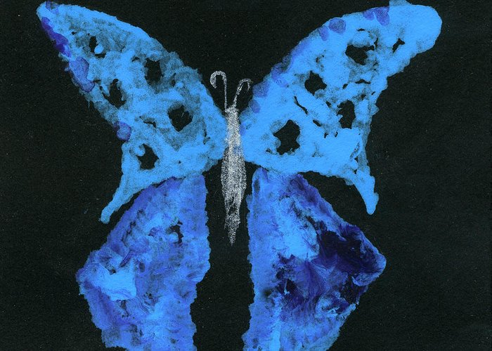 Butterfly Greeting Card featuring the painting Blue Butterfly by Oudi Arroni
