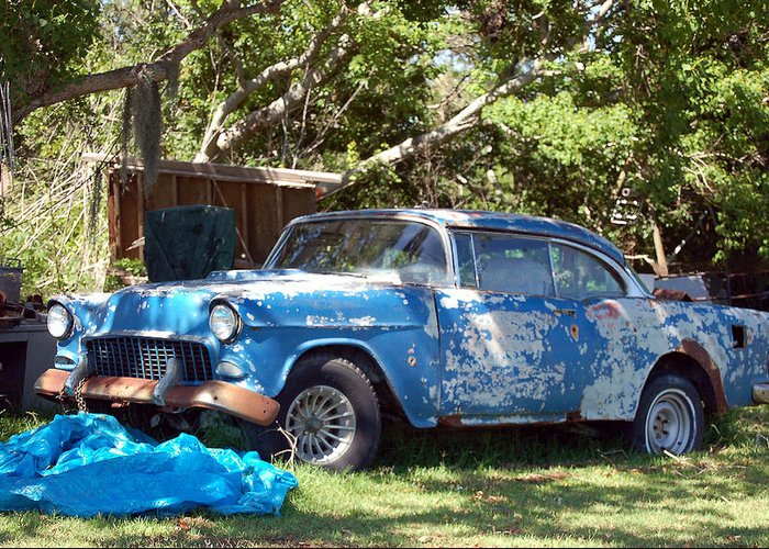 Cars Greeting Card featuring the photograph Blue Car On The Bayou by Heather S Huston
