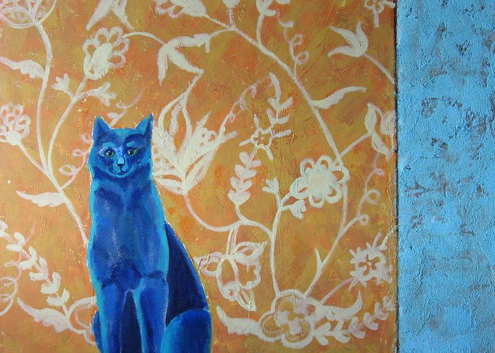 Cat Greeting Card featuring the painting Blue Cat by Aliza Souleyeva-Alexander