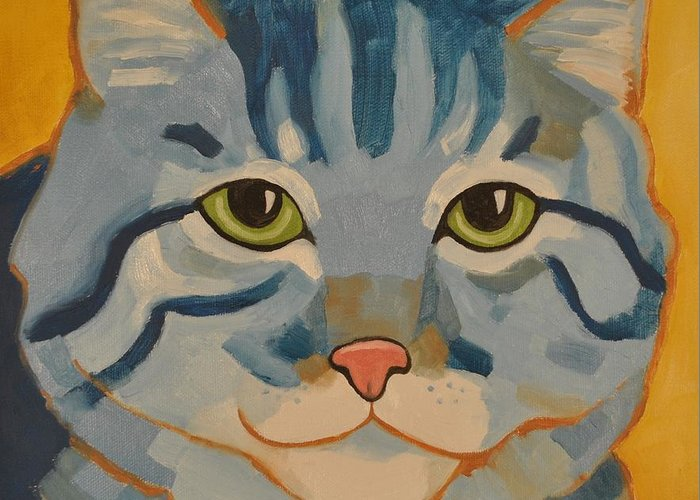 Blue Greeting Card featuring the painting Blue Cat by Cilla Mays
