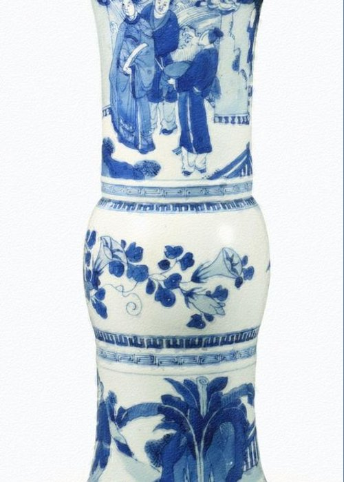 Blue Chinese Chinoiserie Pottery Vase No 3blue & White Chinese Porcelain Around The World Greeting Card featuring the painting Blue Chinese Chinoiserie Pottery Vase No 3 by Celestial Images