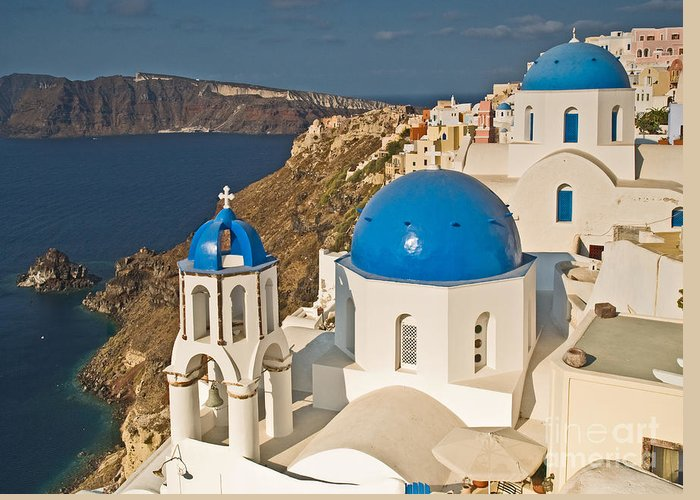 Outdoors Greeting Card featuring the photograph Blue Churches Of Santorini by Jim Chamberlain