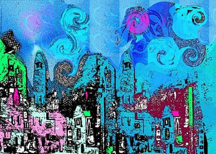 Blue Greeting Card featuring the digital art Blue City by Joyce Goldin