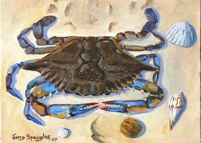Crab Greeting Card featuring the painting Blue Claw Crab by Jerry Spangler