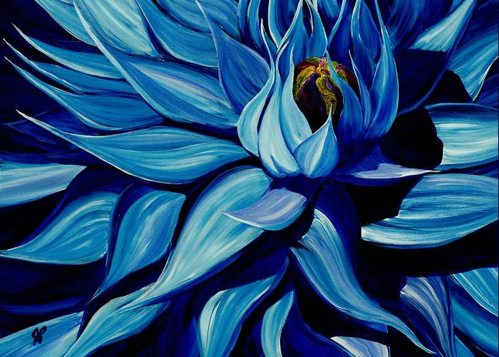 Macro Flower Greeting Card featuring the painting Blue Clematis by Julie Pflanzer