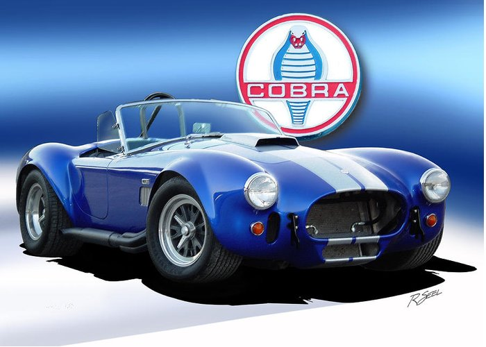 Cobra Greeting Card featuring the painting Blue Cobra by Rod Seel