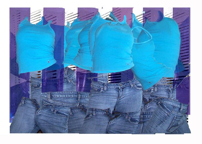 Collage Of Images Of Tops And Jeans Greeting Card featuring the digital art Blue Comp Number Three by Leo Malboeuf