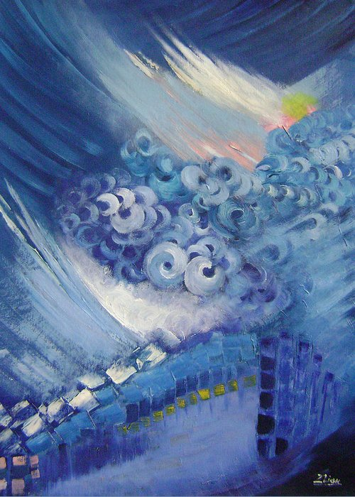 Abstract Greeting Card featuring the painting Blue Concerto 2 by Lian Zhen