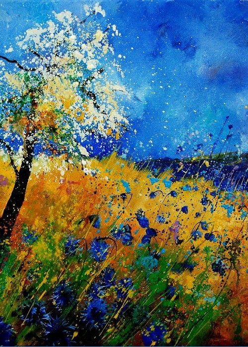 Poppies Greeting Card featuring the painting Blue Cornflowers 450108 by Pol Ledent