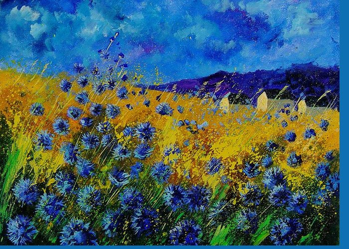 Poppies Greeting Card featuring the painting Blue cornflowers by Pol Ledent