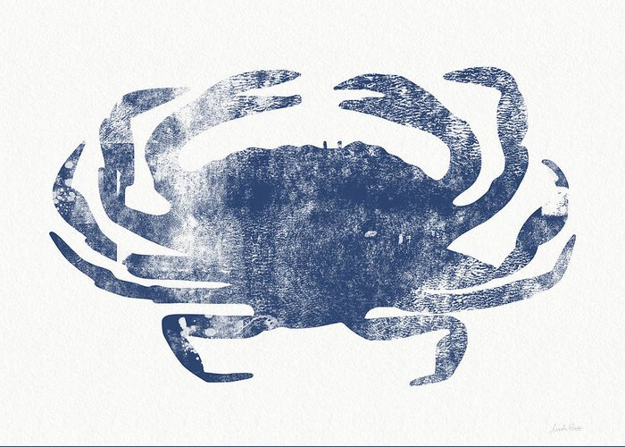 Cape Cod Greeting Card featuring the painting Blue Crab- Art by Linda Woods by Linda Woods