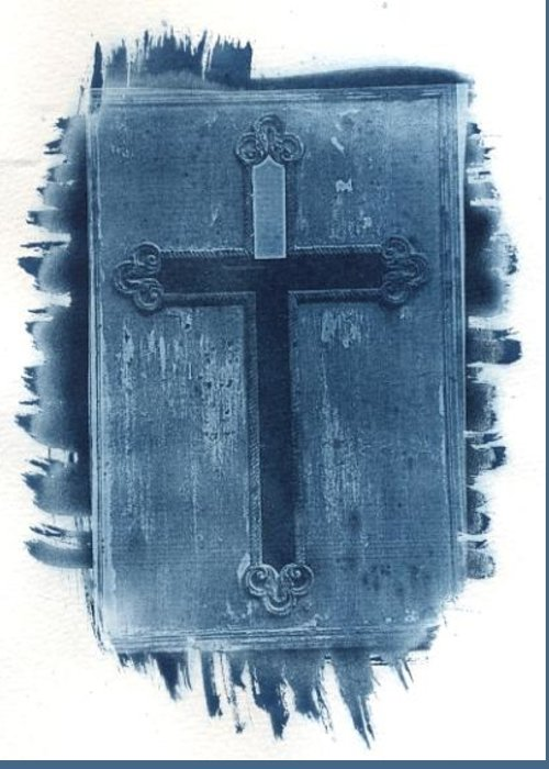 Cyanotype Greeting Card featuring the photograph Blue Cross by Jane Linders