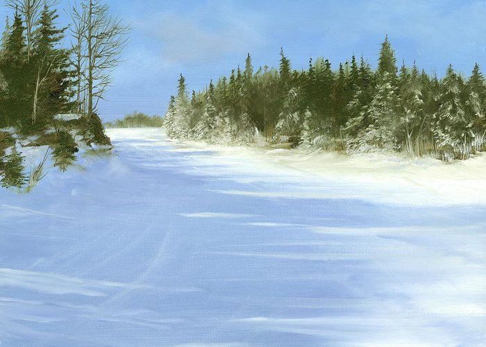 Ski Greeting Card featuring the painting Blue Cruiser by Ken Ahlering