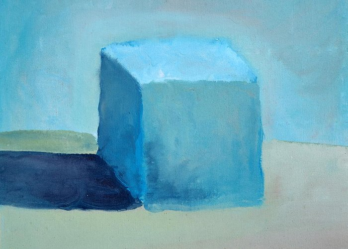Blue Greeting Card featuring the painting Blue Cube Still Life by Michelle Calkins