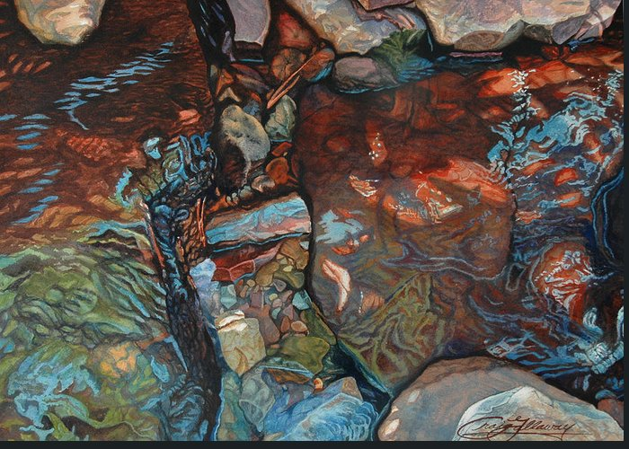 Rocks Greeting Card featuring the painting Blue Current by Craig Gallaway