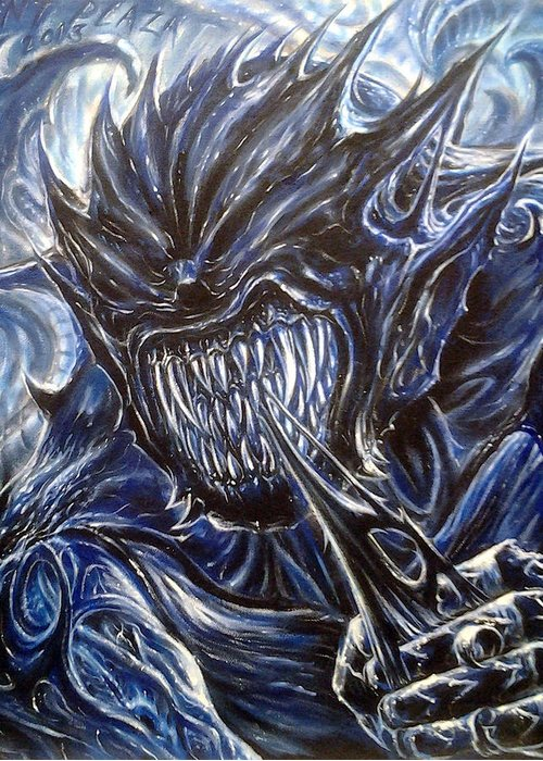 Demon Greeting Card featuring the painting Blue Demon by Anthony Plaza